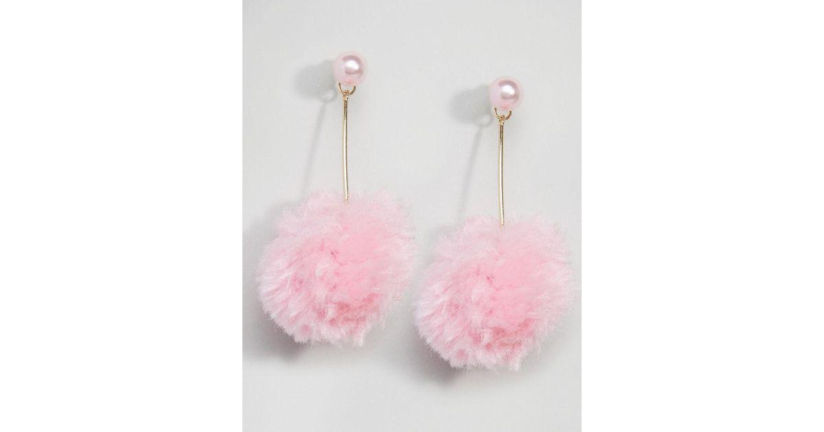 93692c0e2 ASOS Faux Pearl Pink Pom Strand Earrings in Metallic - Lyst