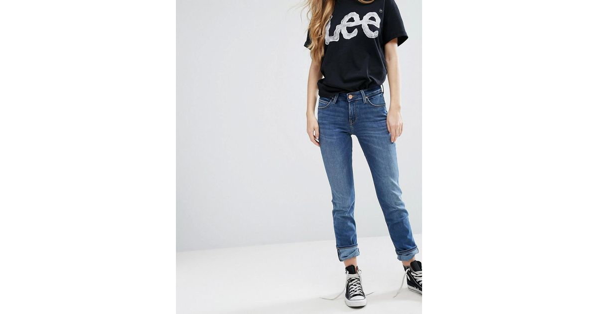 d660a767 Lee Jeans Elly Mid Rise Slim Straight Jeans in Blue - Lyst