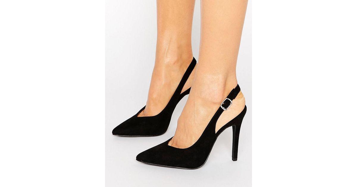 b2b71d925613 Lyst - New Look Suedette Slingback Heel in Black