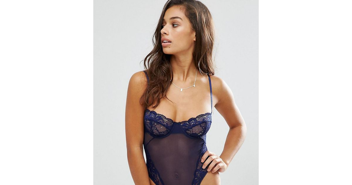 ed70c418e ASOS Cacey Fishnet   Lace Underwire Thong Body in Blue - Lyst