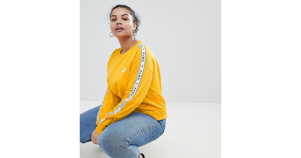 eebcb8ae0bd PUMA Exclusive To Asos Plus Sweatshirt With Taped Side Stripe In Yellow in  Yellow - Lyst
