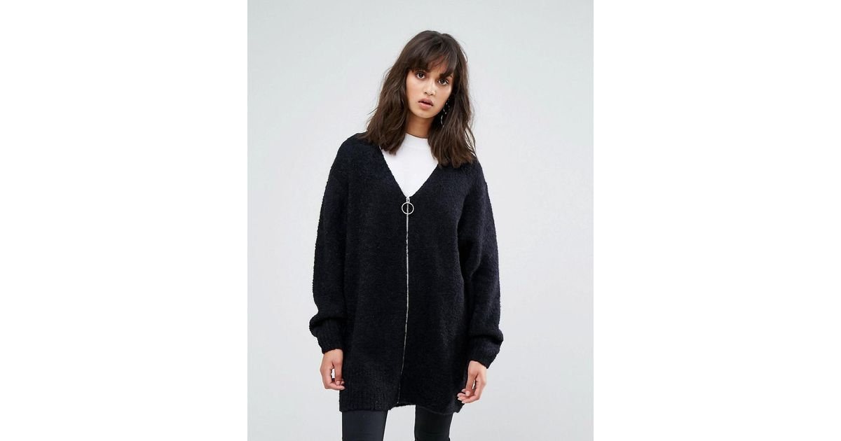 1fb785a29e02 Lyst - Weekday Fluffy Cardigan With Zip in Black