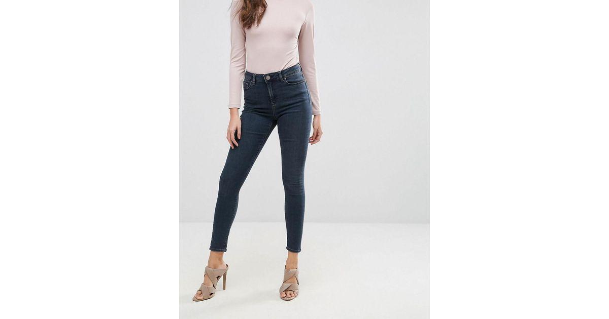 With Mastercard Sale Online Latest RIDLEY High Waist Skinny Jeans in Franke Darkwash Blue - Franke dark wash Asos FUedM