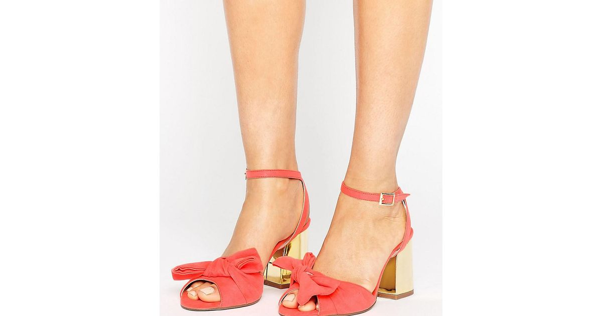 966b628bd96 Lyst - ASOS Humbug Wide Fit Bow Sandals in Red