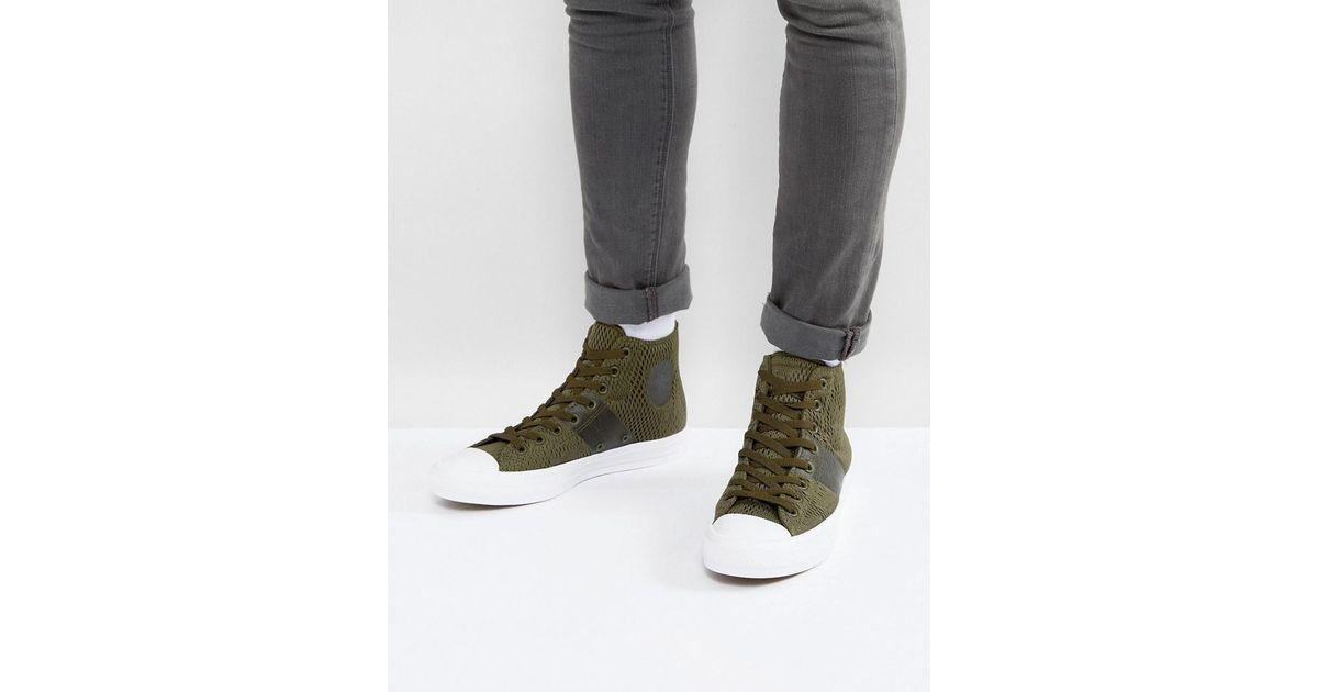 Lyst - Converse Chuck Taylor All Star Ii Hi Sneakers In Green Mesh 155747c  in Green for Men