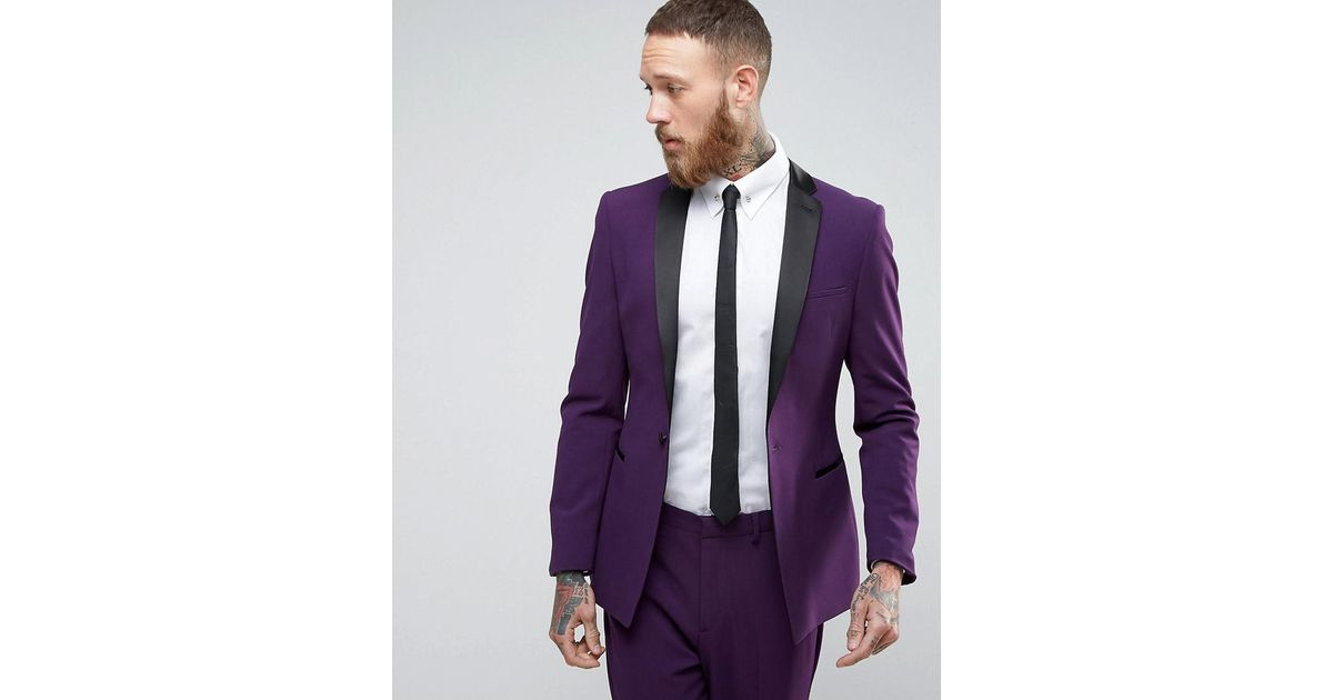 Asos Super Skinny Tuxedo Suit Jacket In Purple With Satin Lapel in ...