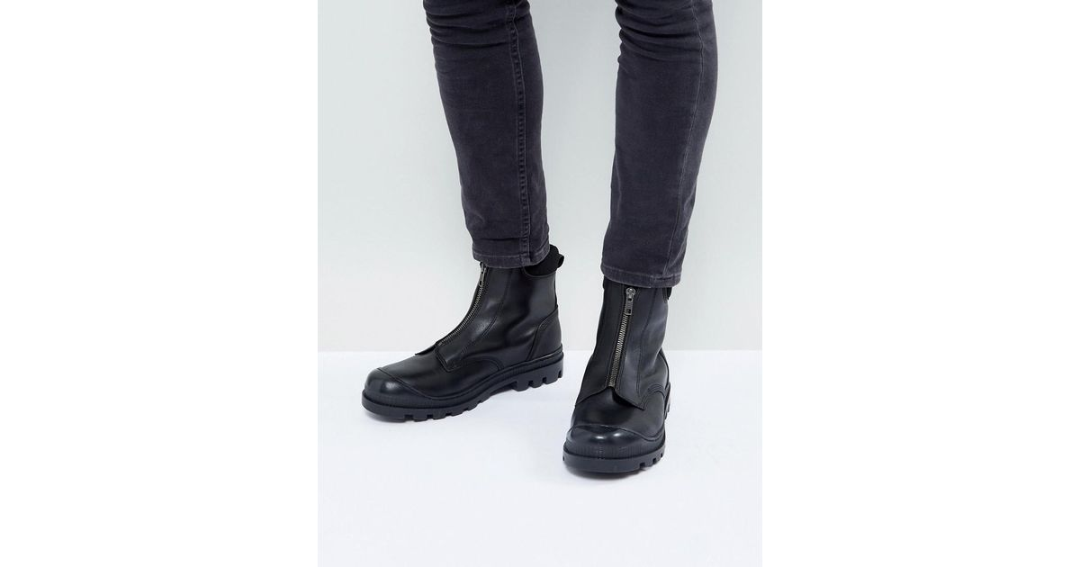 Chelsea Boots In Black Leather With Front Zip Detail And Cleated Sole - Black Asos 2m1FJD