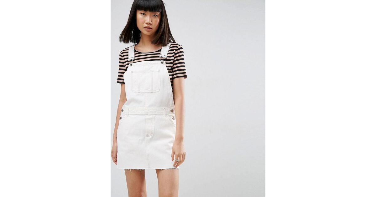 0e78f87ad42 Lyst - ASOS Denim Dungaree Dress In Off White With Tobacco Stitch .