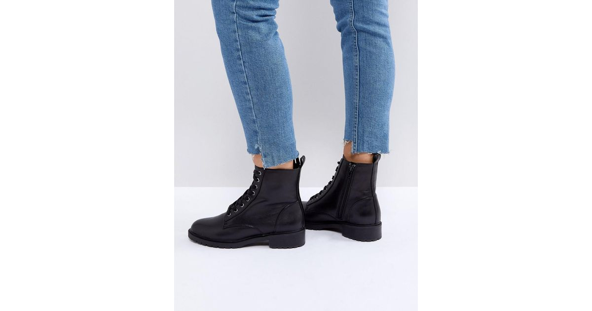 5b6c3a719343 Steve Madden Officer Leather Flat Lace Up Ankle Boots in Black - Lyst