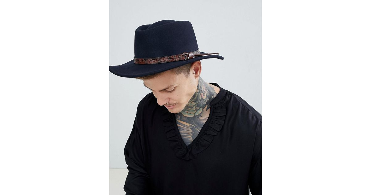 577f6e407c5 Lyst - Asos Pork Pie Hat With Wide Brim In Navy With Tan Embossed Band  Detail in Blue for Men