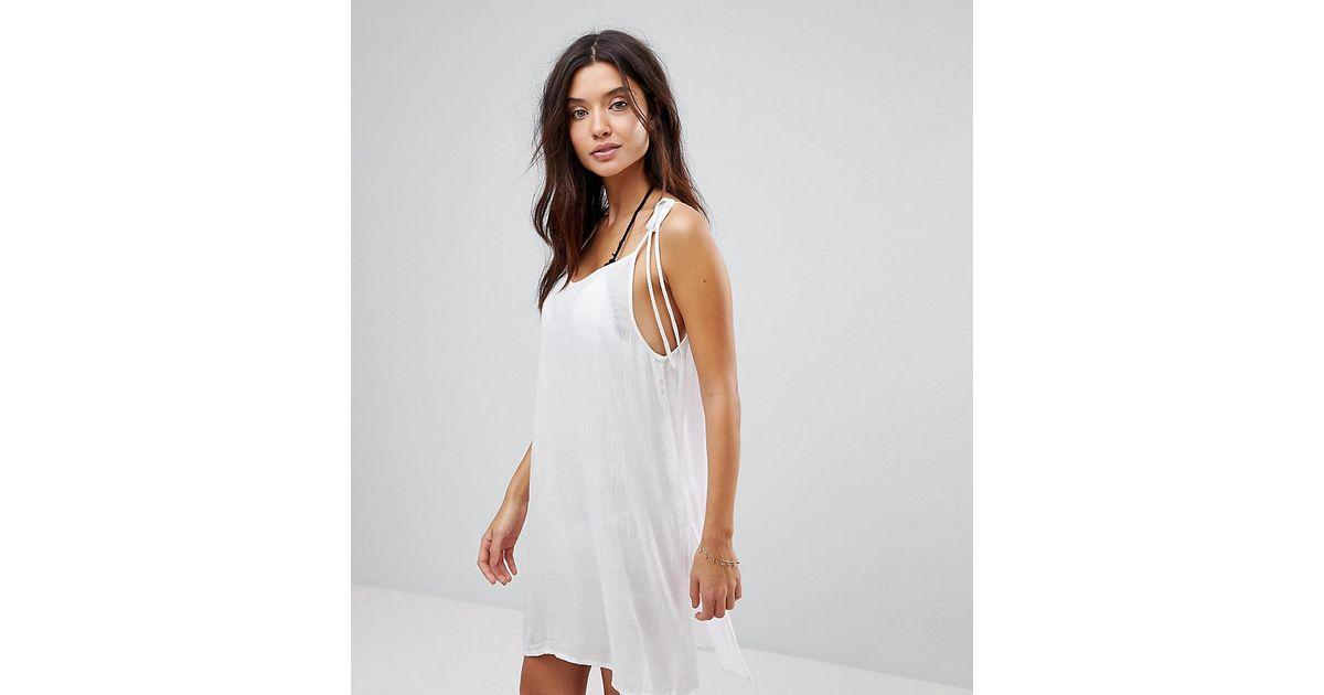 c2c47f6ed5 Akasa Tie Shoulder White Beach Dress in White - Lyst