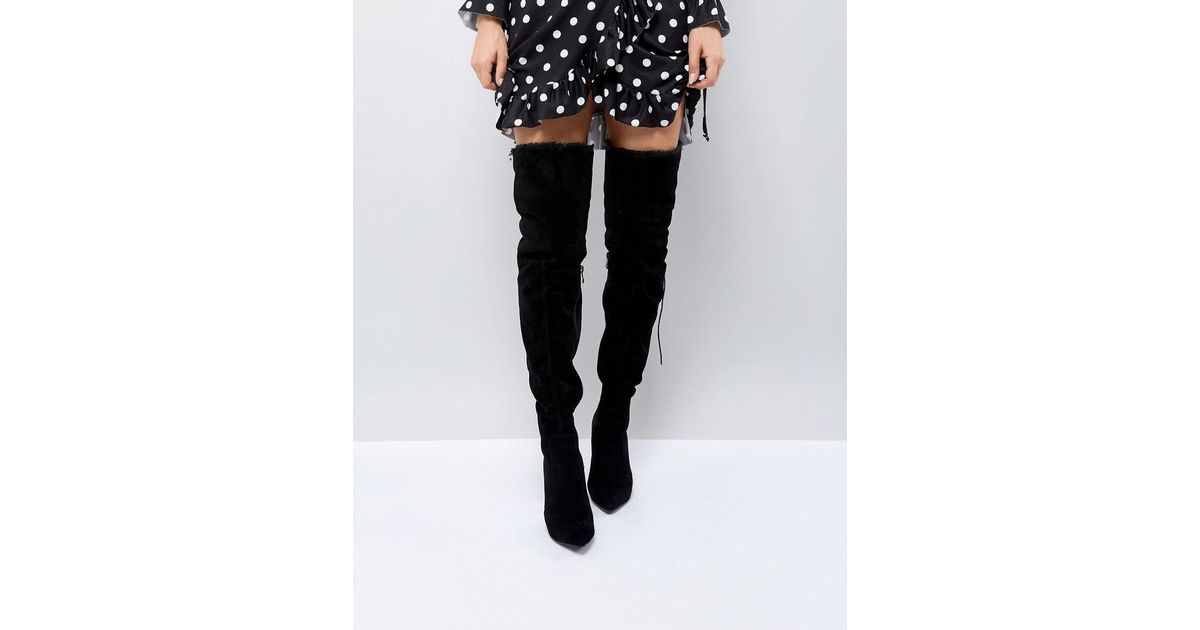 beb6f894d67 PrettyLittleThing Faux Fur Trim Heeled Over The Knee Boot in Black - Lyst