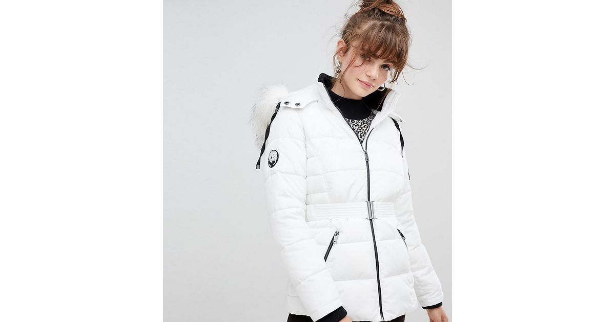 100% satisfaction wholesale online most fashionable New Look White Faux Fur Belted Padded Coat
