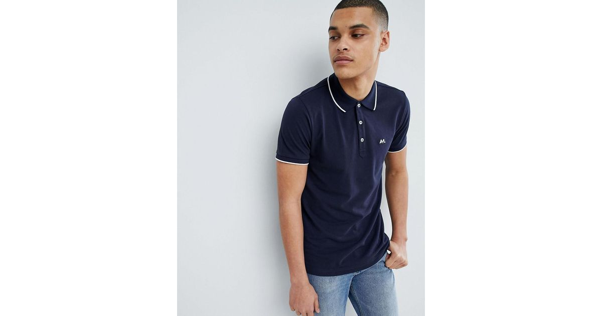 Tipped Basic Polo Shirt In Navy - Navy Lindbergh Websites For Sale Largest Supplier New Cheap Online Shopping Online Original New Styles Cheap Price AhQAYp
