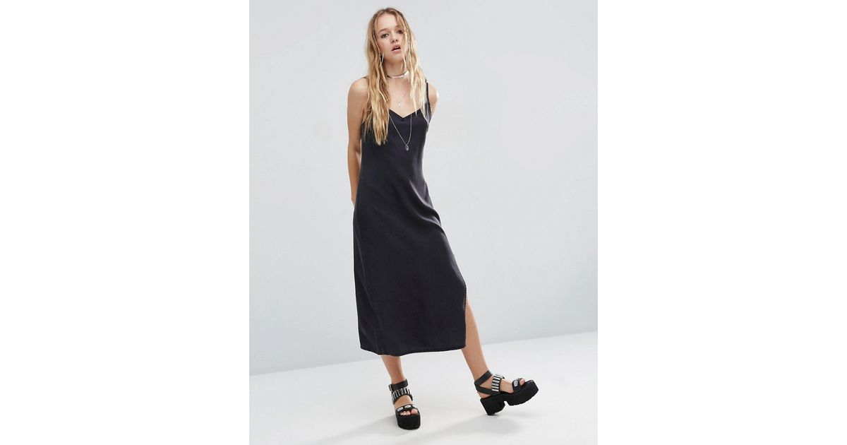 Asos Denim Slip Dress In Washed Black With D Rings