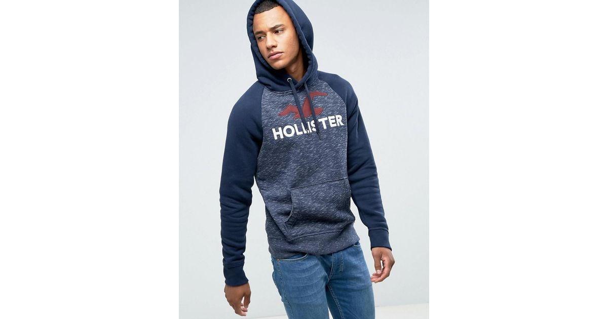 Hollister Hoodie Tech Logo In Navy Marl In Blue For Men