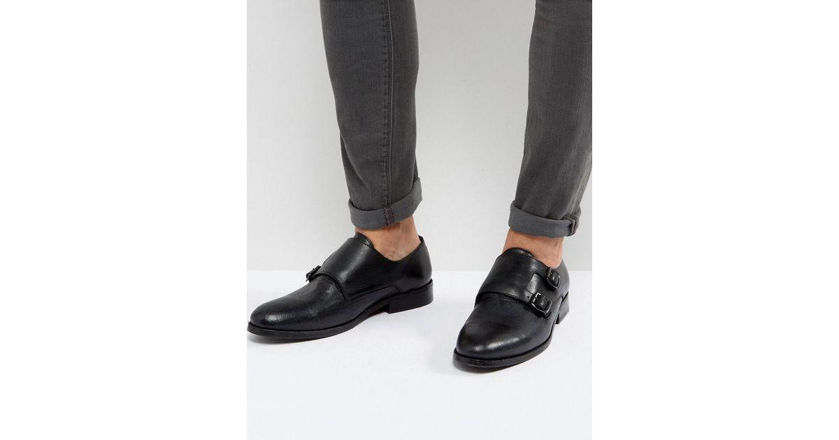 AllSaints Leather MonkStrap Shoe FrtUb2ikf0