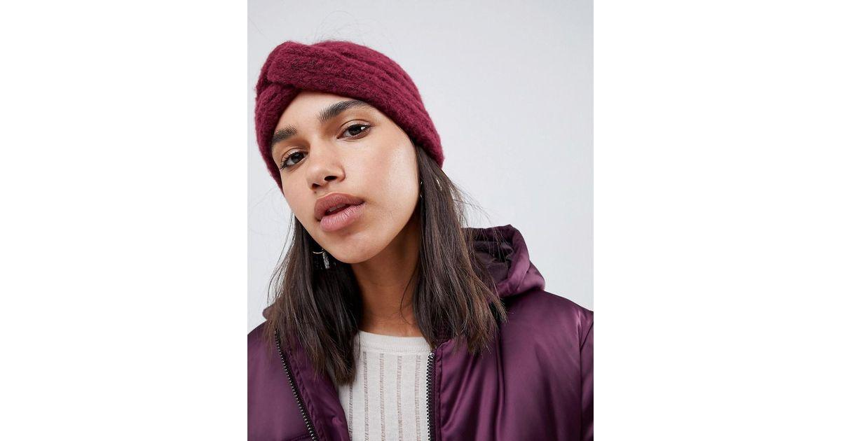 84f7d8a6645 ASOS Fluffy Knit Headband in Red - Lyst
