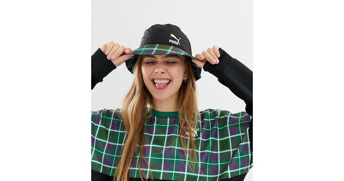 17336f3b75e PUMA Exclusive Green Check Bucket Hat in Green - Lyst