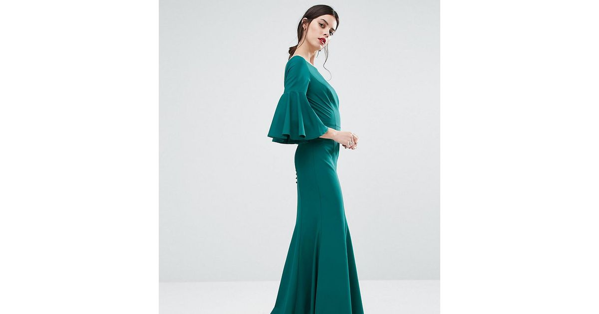 3988ac6bab Lyst - Jarlo Maxi Dress With Bell Sleeve And Button Back Detail in Green