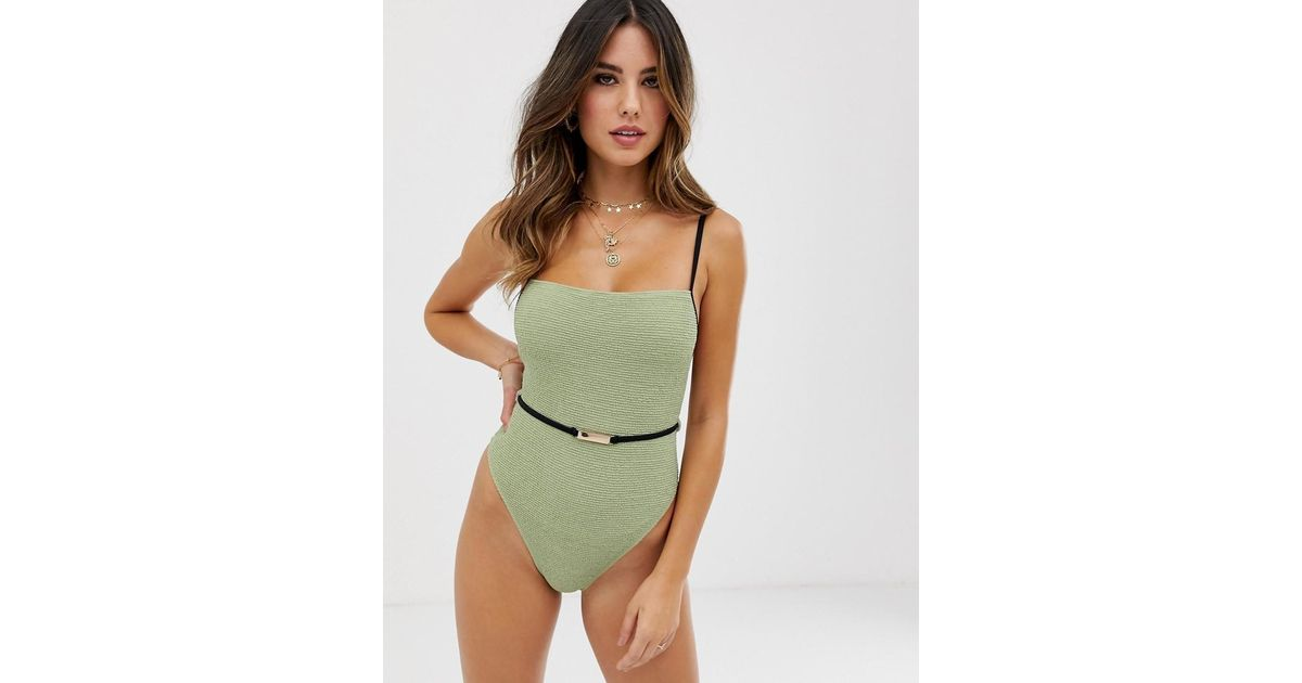 d62c0b8f38f River Island Swimsuit With Belt In Khaki in Green - Lyst