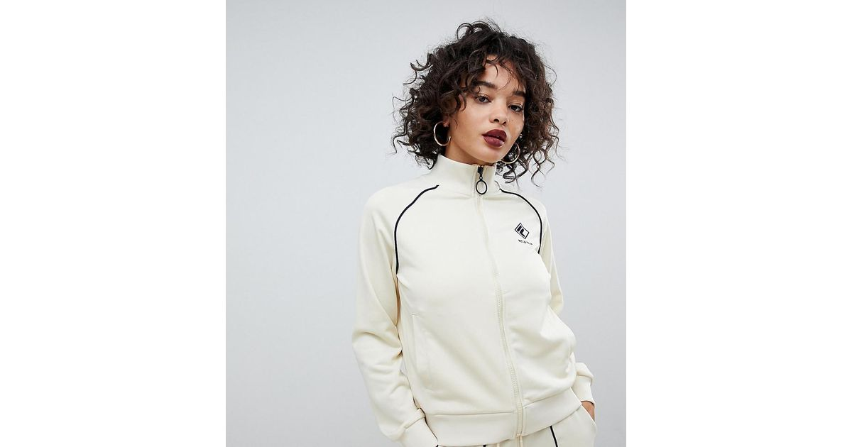 311b105b730b Lyst - Fila Tracksuit Jacket With Chest Logo And Contrast Piping In Rib  Knit Two-piece in White