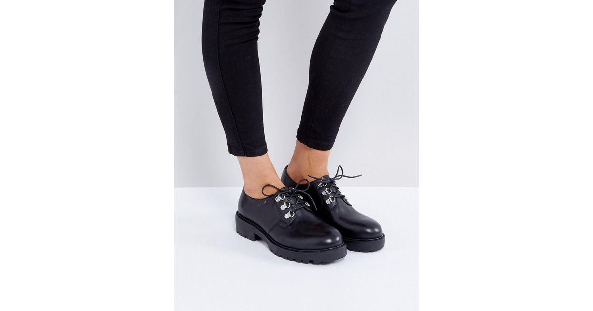 fe1d162b5ab Lyst - Vagabond Kenova Black Leather Lace Up Flat Shoes in Black