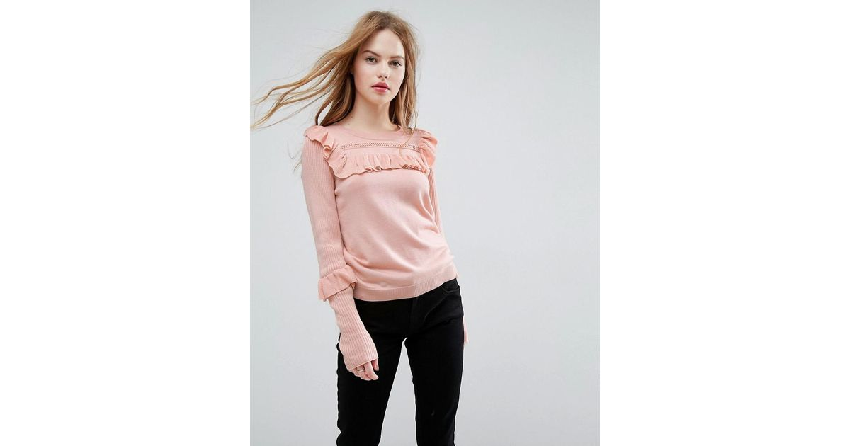 1a34f786cd Lyst - ASOS Asos Sweater With Frill And Pointelle Detail in Pink