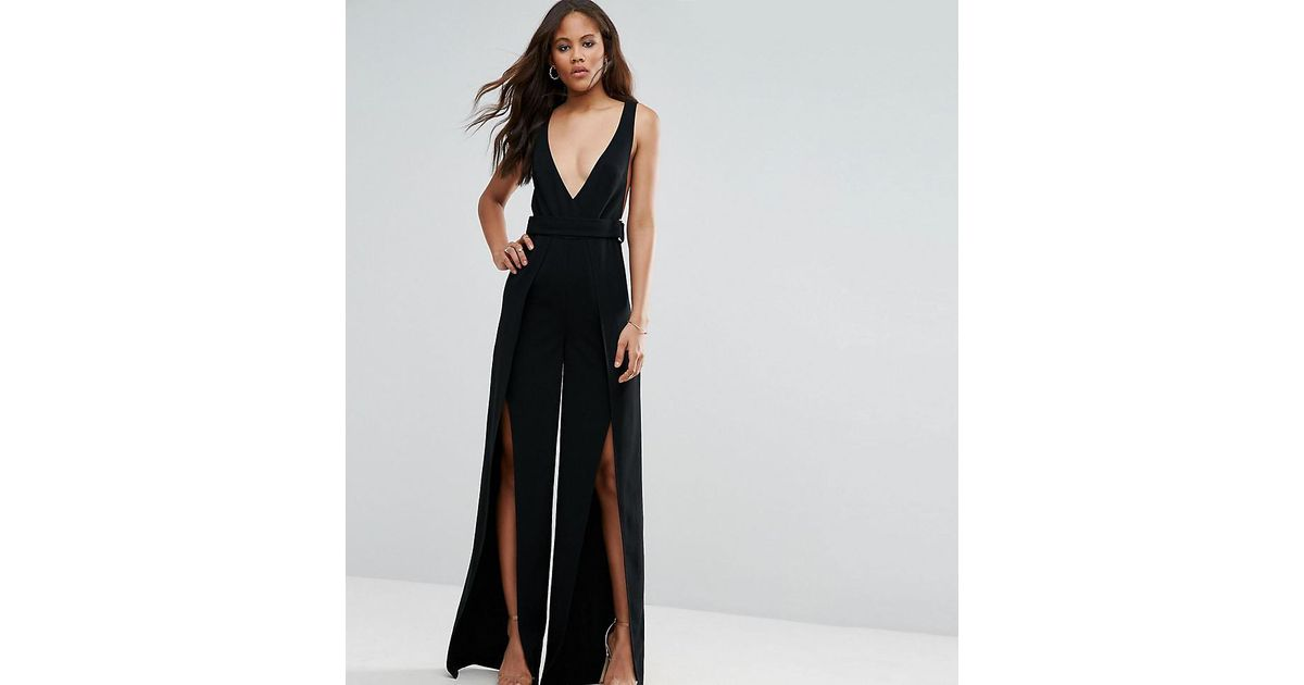 899f4391642 ASOS Plunge Wide Leg Jumpsuit With Split Front in Black - Lyst