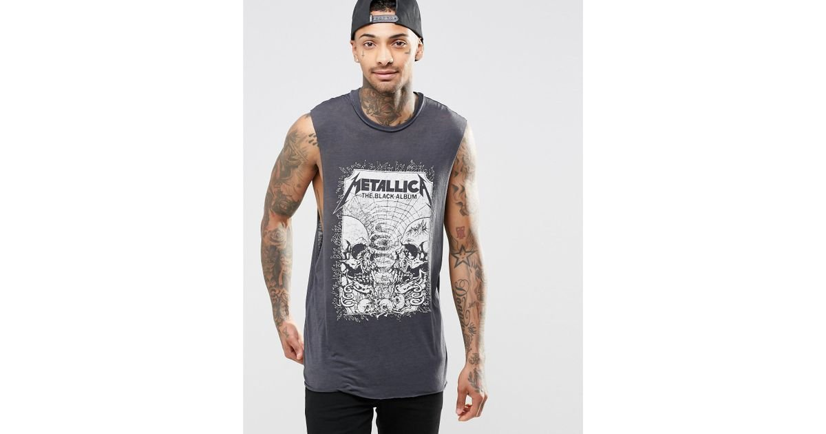 96122f454124 Lyst - ASOS Sleeveless T-shirt With Burnout And Metallica Print - Blue in  Blue for Men