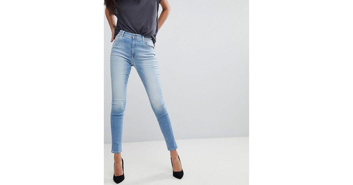 479672fedc Replay Super High Rise Skinny Jean in Blue - Lyst