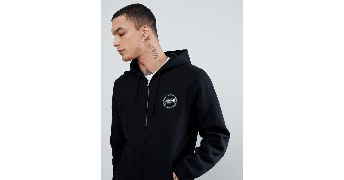 34974deef346 Stussy Zip Through Hoodie With International Back Print in Black for Men -  Lyst