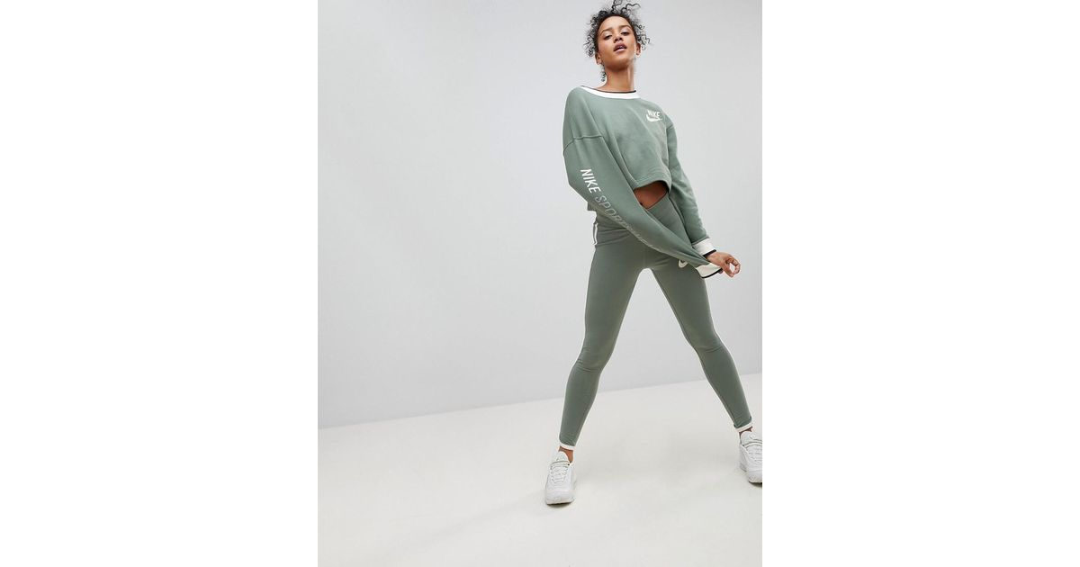 039e4940e5366f Nike Archive Leggings In Green With Piped Trim in Green - Lyst