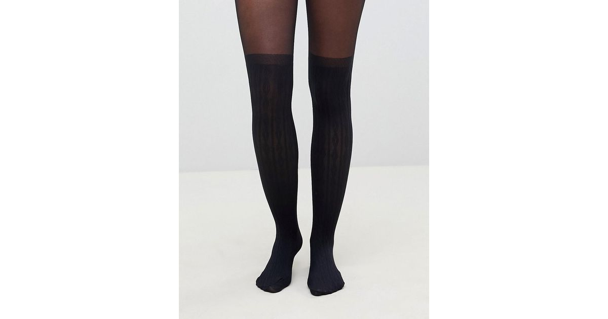 52ed4c07400 Lyst - ASOS Recycled Cable Over The Knee Tights With Control Top in Black