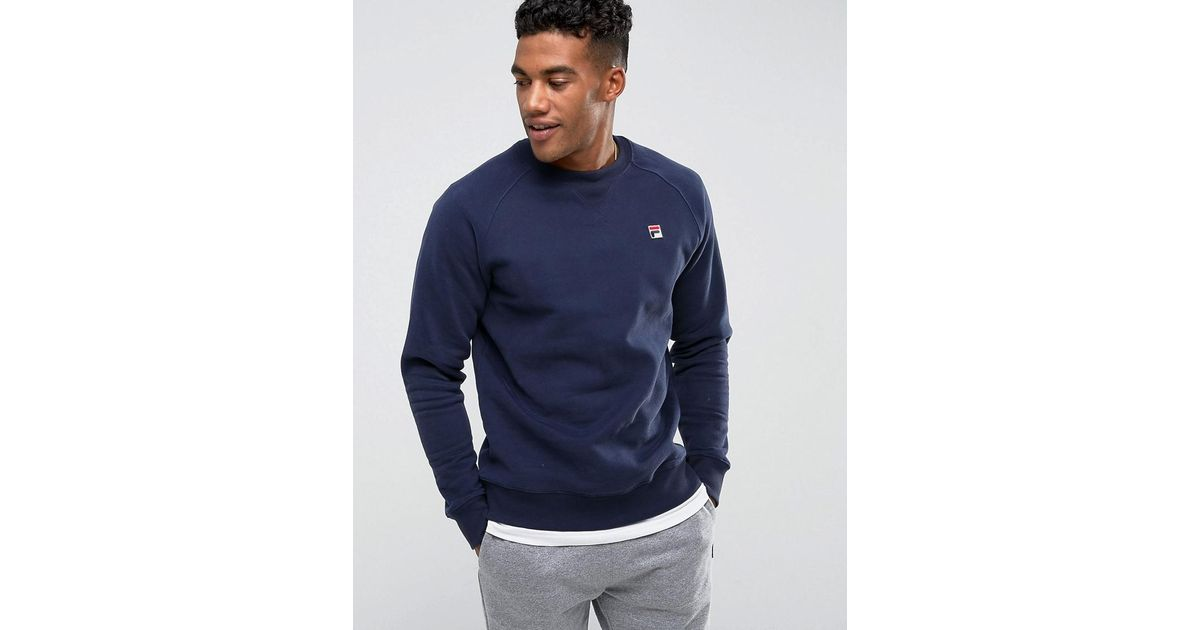 0ae609abd8b17 Fila Sweatshirt With Small Logo In Blue in Blue for Men - Lyst