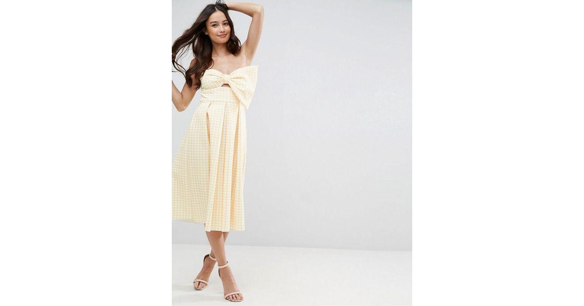 776f7c5cd3 ASOS Asos Scuba Gingham Bow Front Midi Prom Dress in Yellow - Lyst