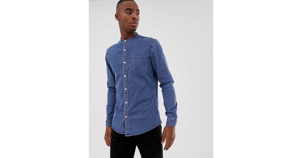 ee27dabae56 Asos Stretch Slim Denim Shirt In Mid Wash With Grandad Collar in Blue for  Men - Lyst