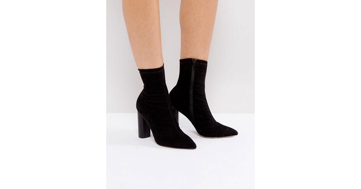 Lyst - Office London Sock Heeled Ankle Boots in Black f5fde7d38c1b