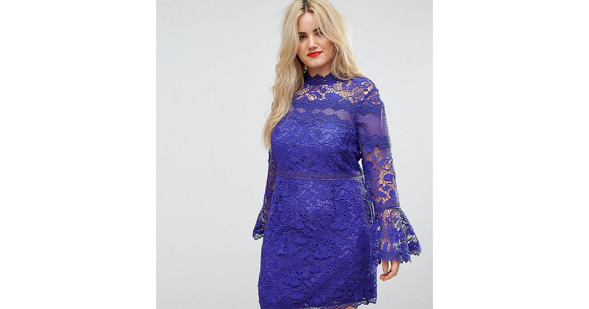8e7b8f8dc84a ASOS Lace Long Sleeve Mini Dress With Fluted Sleeves in Blue - Lyst
