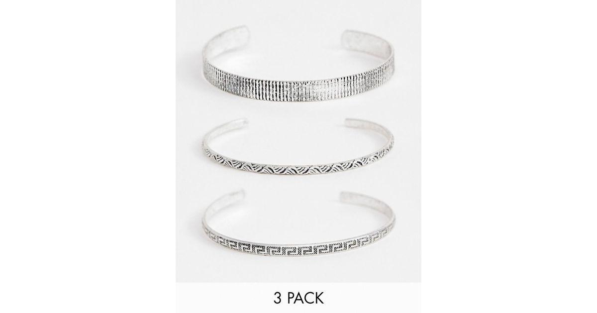 9003b0cd05df Lyst - Pack de brazaletes en tono plateado pulido de ASOS de hombre de  color Blanco