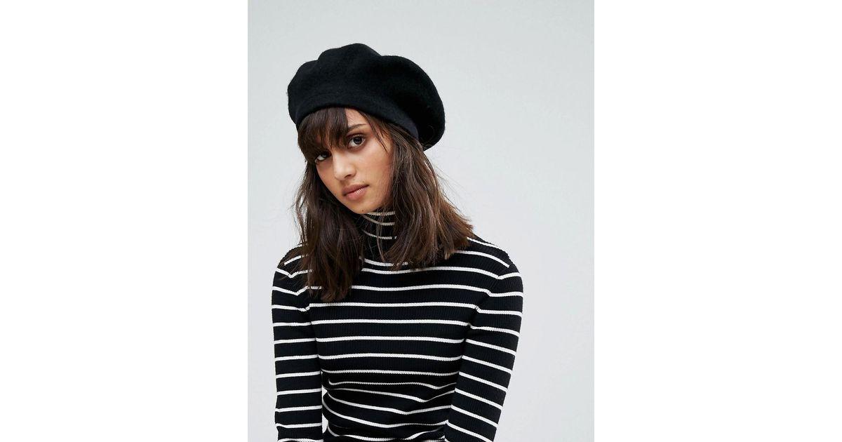 DESIGN wool beret - Black Asos GAqvmxmau