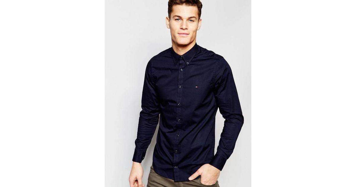 9b55f0c5b Tommy Hilfiger Poplin Shirt With Stretch In Slim Fit In Navy in Blue for  Men - Lyst