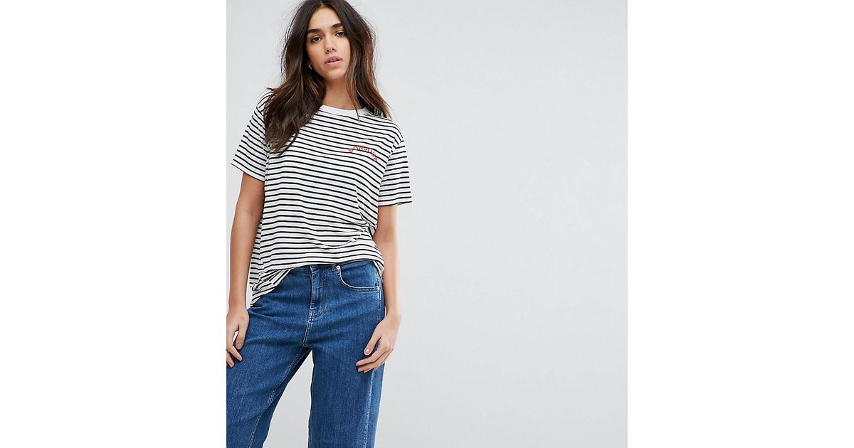7ca588b761d44 Whistles Exclusive Bonjour Stripe T-shirt in Blue - Lyst