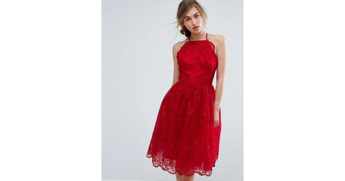 77ebc9700779 Chi Chi London High Neck Scalloped Lace Dress in Red - Lyst