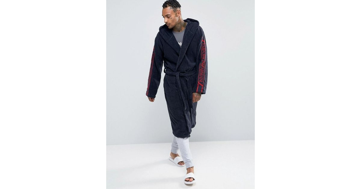Emporio Armani Logo Hooded Dressing Gown In Navy in Blue for Men - Lyst 3252d44b2