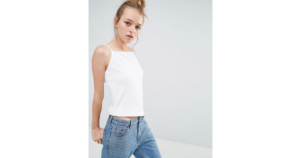 158698e194 Monki High Neck Cami Top in White - Lyst