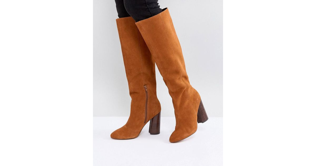 CABRINIE Suede Pull On Knee Boots - Black suede Asos