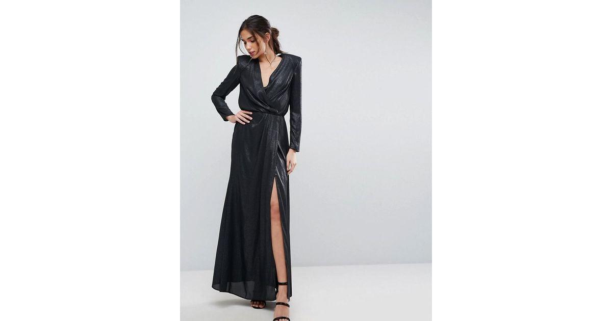 73750539910b Lyst - ASOS Asos Metallic Twist Front Maxi Dress With Shoulder Pads in Black