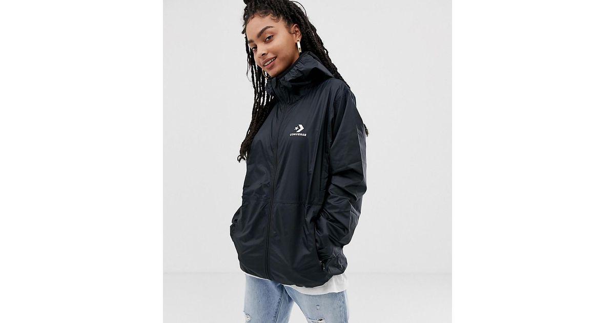 c1b0a2379da4 Lyst - Converse Oversized Windbreaker Jacket In Black in Black