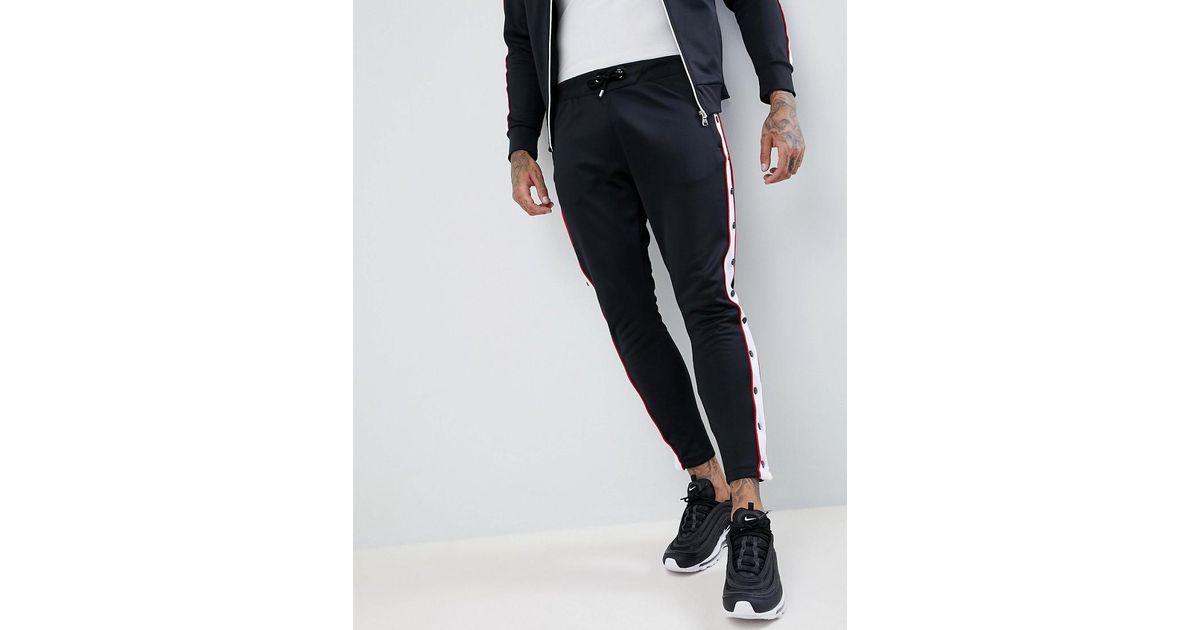 Pantalon de jogging skinny moulant à boutons pression Noir The Couture Club pour homme en coloris Black